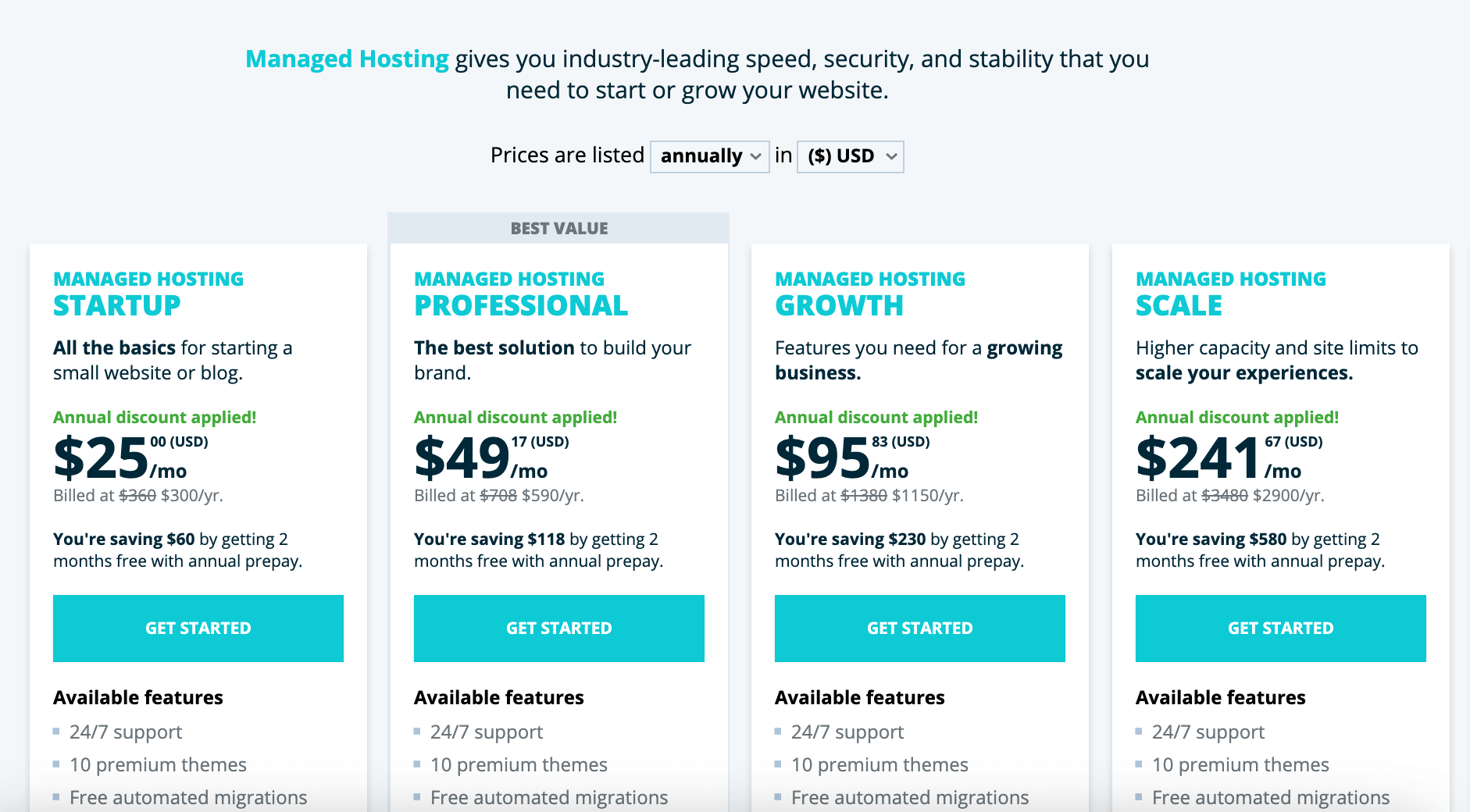 Monthly WordPress hosting by WP Engine